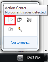 action center tray icon